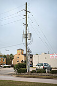 power pole and airplane in the sky, Houston, Texas, US, United States of America, North America