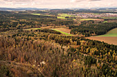 view from thyssenkrupp elevator testing tower at surrounding forest countryside, Rottweil, Baden-Wuerttemberg, Germany