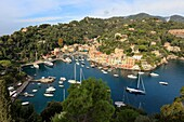 Harbor and picturesque village of Portofino, province of Genoa, Liguria, Italy.