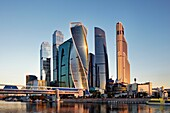 High rise buildings of Moscow International Business Centre (MIBC, or Moscow City) at sunrise. Moscow, Russia.