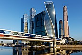 High rise buildings of Moscow International Business Centre (MIBC, or Moscow City) and Bagration pedestrian bridge. Moscow, Russia.
