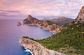 View at sunset from Mirador Es Colomer, Formentor, Pollensa, Majorca, Balearic Islands, Spain