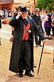 Man dressed in period clothing at the annual Doc Holiday event in Tombstone, Arizona.