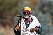 Africa, Ethiopia, Rift Valley, Debre Libanos, Pilgrim going to Debre Libanos Monastery, old man.