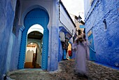 Street in the medina of Chefchaouen, Morocco.