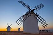 Traditional windmills at sunrise, Campo de Criptana, La Mancha, Spain.