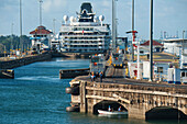 The Celebrity Infinity (Celebrity Cruises) is gradually lowered in Gatun Locks on the eastern end of the Panama Canal, Cristobal, Panama, Central America