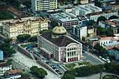 Aerial of the Amazon Theatre (Teatro Amazonas), inaugurated in 1896, showing the roofing tiles from Alsace, France, Manaus, Amazonas, Brazil, South America