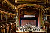 View of the stage and box-seats of the Amazon Theatre (Teatro Amazonas), depicting classical musicians acknowledging applause, Manaus, Amazonas, Brazil, South America