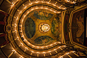 View of the horseshoe-shaped ceiling of the Amazon Theatre (Teatro Amazonas), with its murals, Manaus, Amazonas, Brazil, South America