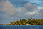 Late afternoon sun shines on a palm-covered island under lightly clouded skies, Likiep Atoll, Ratak Chain, Marshall Islands, South Pacific