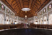 Interior view of the blue, white and black Immaculate Conception Cathedral (also called Cathedral of Apia or Mulivai Cathedral), built on the site of the original mid-19th-Century church and opened in 2014, Apia, Upolu, Samoa, South Pacific