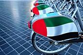 Mietfahrräder, Fahrräder, Downtown, Dubai, VAE, Vereinigte Arabische Emirate