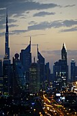 Night, Skyline, Burj Khalifa, Sheikh Zayed Road, Dubai, UAE, United Arab Emirates