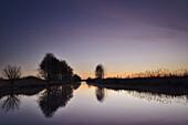 ditch, Güstfenner Schloot, dusk, Abickhafe, Friedeburg, Wittmund - district, Lower Saxony, Germany, Europe