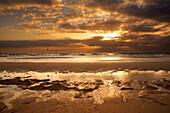 Strand, Sonnenaufgang, vulkanische Landschaft, Corralejo, La Oliva, Fuerteventura, Spanien, Europa