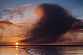 wadden sea, sunrise, cloud, cumulonimbus, Jadebusen, North Sea, Wilhelmshaven, Lower Saxony, Germany, Europe