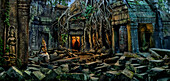Apsara dancer inside Ta Prohm Temple at night, Angkor, Siem Raep, Cambodia, Asia
