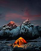 Mount Everest at sunrise (Mt Nuptse right), Kala Patthar, Khumbu, Nepal, Asia