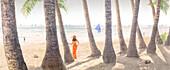 Woman on White Beach, Boracay, Boracay, Philippines, Asia