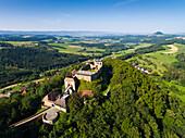 View over Hohenrechberg Castle  to mountain Hohenstaufen, near Schwaebisch Gmuend, Swabian Alb, Baden-Wuerttemberg, Germany