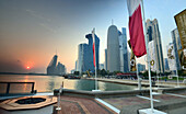 Sunset at the Skyscrapers at the northern Corniche, Doha, Qatar