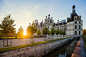 Chambord Castle, North Facade, Sunrise, UNESCO World Heritage Site, Chambord, Loire, Department Loire et Cher, Centre Region, France