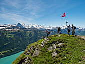 view from Augstmatthorn over lake Brienzer See to the mountains of Eiger, Mönch and Jungfrau, Alps, Bernese Oberland, Switzerland, Europe