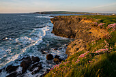 Sunset over the Cliffs of Kilkee and the Atlantic Ocean, Kilkee, County Clare, Ireland, Europe