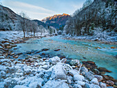 the river Soca at wintertime, Slovenia