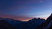 dawn above the alps in Slovenia