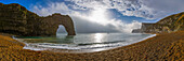 panoramic view at the beach in front of Durdle Door, Jurassic Coast, Dorset, England