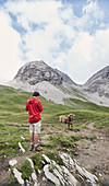 Father and his seventeen year old son crossing the alps from Oberstdorf/Germany-Lechtal-Verwall-Silvretta/all Austria-to Unterengadin/Switzerland and Vinschgau/South Tyrol, Italy,  Day1 from the valley in Faistenoy/Allgaeu to the Enzianhuette with a hike