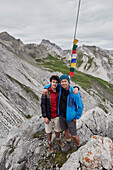 Father and his seventeen year old son crossing the alps from Oberstdorf/Germany-Lechtal-Verwall-Silvretta/all Austria-to Unterengadin/Switzerland and Vinschgau/South Tyrol, Italy,  Day2 from the Enzianhuette in Allgaeu to the Kaiserjochhaus in Tirol with