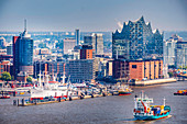 View to the skyline of Hamburg with the Elbphilharmonie and the sportharbour, Hamburg, North Germany, Germany