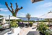 Lounge at the Elbe in Hamburg Blankenese, North Germany, Germany