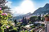 View from the Grand Hotel Timeo to the volcano etna and Taormina, Sicily, South Italy, Italy