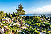 View from the Grand Hotel Timeo to the sea of Taormina, Sicily, South Italy, Italy