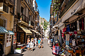 Old town and shoppingstreets of Taormina, Sicily, South Italy, Italy