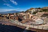 View to the Teatro di Antico of Taormina with Etna and the Sea in the backround, Taormina, Sicily, South Italy, Italy