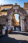 Porta Messina to the old town and shoppingstreets of Taormina, Sicily, South Italy, Italy
