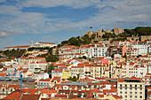 Castelo de Sao Jorge at Lisboa, View from top of the elevator Elevador de Santa Justa, Alfama, District Lisboa, Portugal