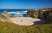 Steep coast and sand beach at Porto Covo, District Setubal, Alentejo, Portugal, Europe