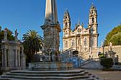 Lamego, Nossa Senhora dos Remédios am Morgen, Brunnen auf dem Pátio dos Reis, Doppeltreppe, Wallfahrtskirche, Distrikt Viseu, Douro, Portugal, Europa