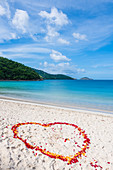 Heart of rose petals on the beach of Magens Bay, Charlotte Amalie, Saint Thomas, Caribbean, USA