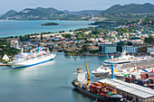 Cruiseships in port, Castries, St Lucia, Caribbean, West Indies