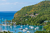 Marigot Bay with sailing yachts, Castries, St. Lucia, Caribbean, West Indies