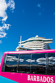 Cruise ship, tourist bus, Bridgetown, Barbados, Caribbean, Lesser Antilles