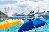 Beach, cruise ships, Philipsburg, St. Martin, Caribbean, Lesser Antilles