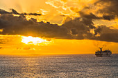 Cruise ship, Sunset, Caribbean Sea, Saint Thomas, Caribbean, Netherlands Antilles